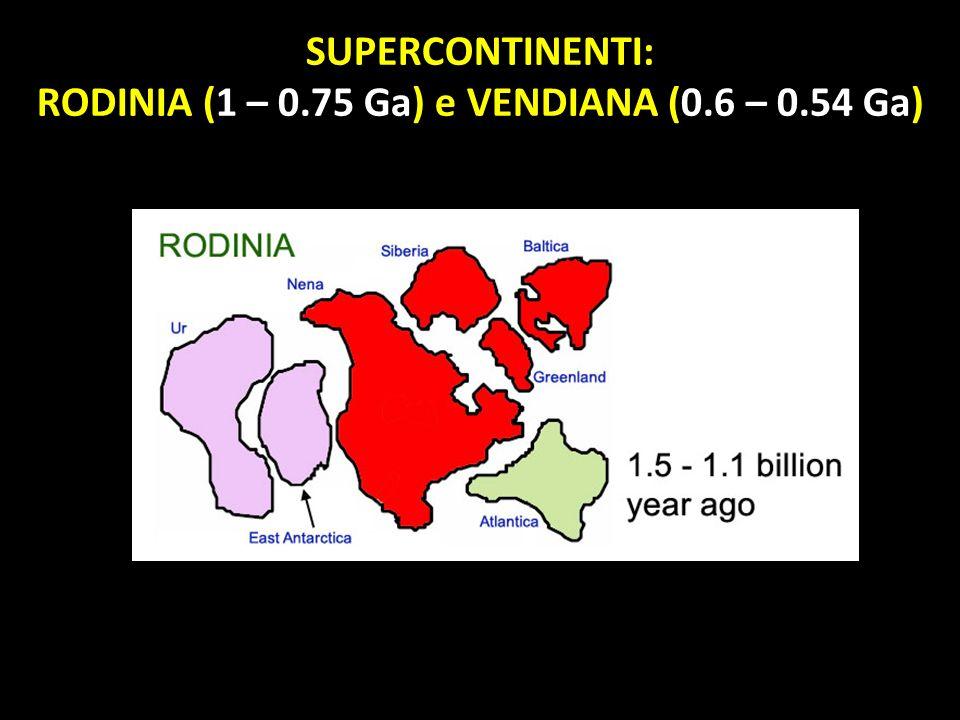 RODINIA (1 – 0.75 Ga) e VENDIANA (0.6 – 0.54 Ga)