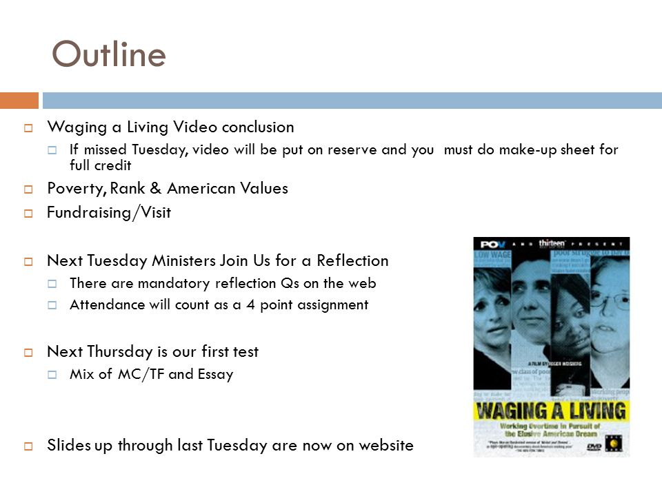 outline today thursday next tuesday ministers join us for a outline waging a living video conclusion