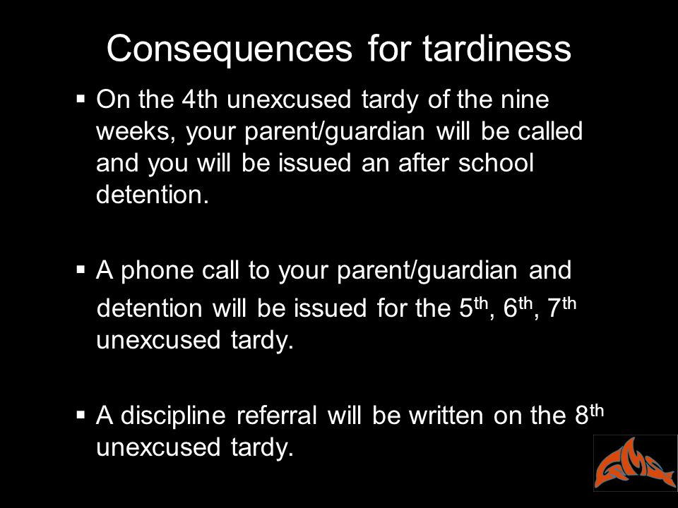 Consequences for tardiness