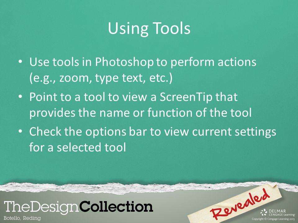 Using Tools Use tools in Photoshop to perform actions (e.g., zoom, type text, etc.)