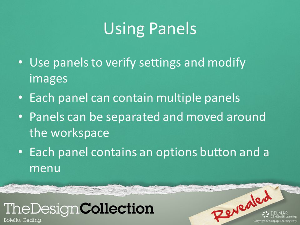 Using Panels Use panels to verify settings and modify images