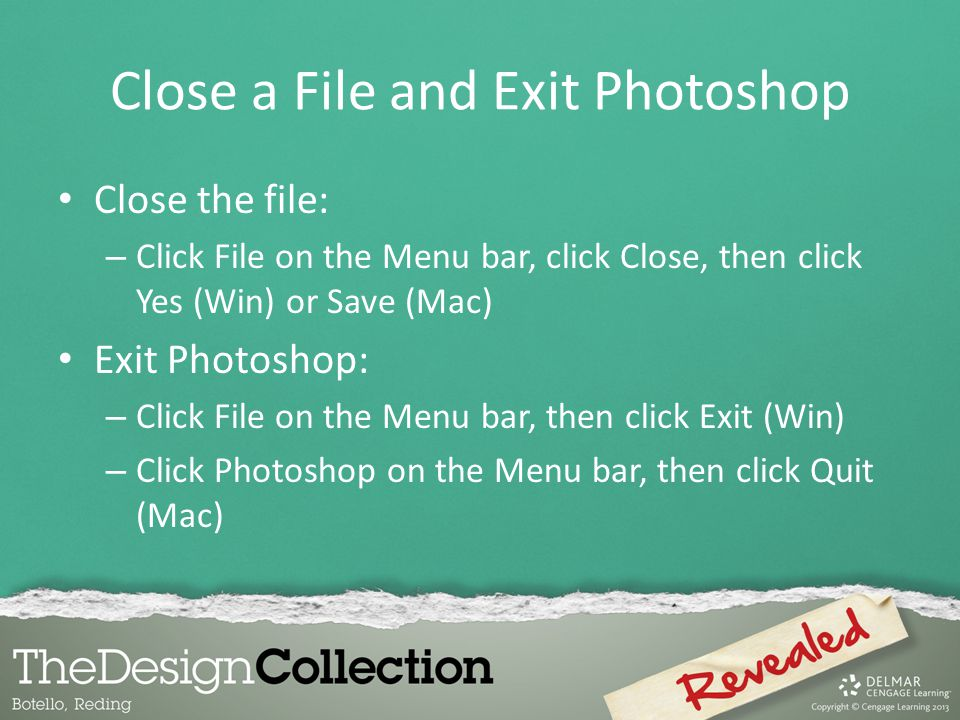 Close a File and Exit Photoshop