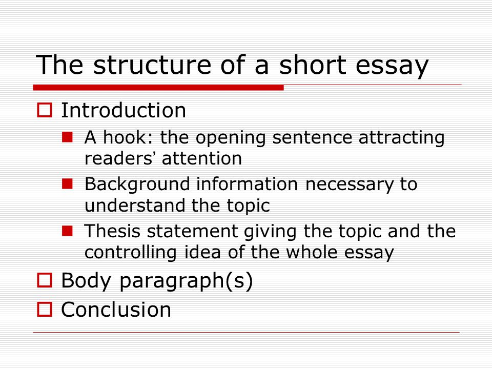 introduction short essay What follows is the sample essay analysing the use of setting in the short story  of the essay, beginning with its introduction,  writing centre 230.