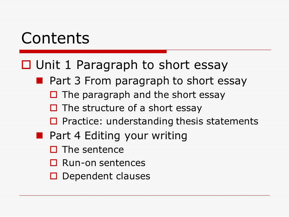 five paragraph essay unit Unit 1 paragraph to short essay it tells readers that the paragraph will be about the instructor and his help teaching from paragraph to short essay.