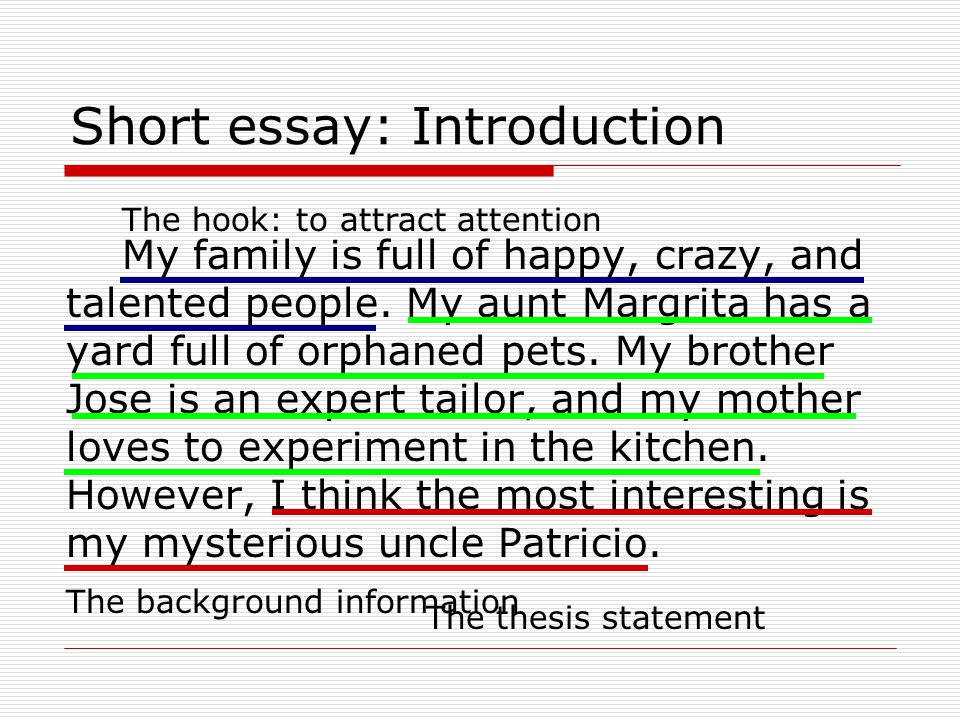 an introduction to the creative essay on the topic of family Every essay or assignment you write must begin with an introduction it might be helpful to think of the introduction as an inverted pyramid in such a pyramid, you begin by presenting a broad introduction to the topic and end by making a more focused point about that topic in your thesis statement.