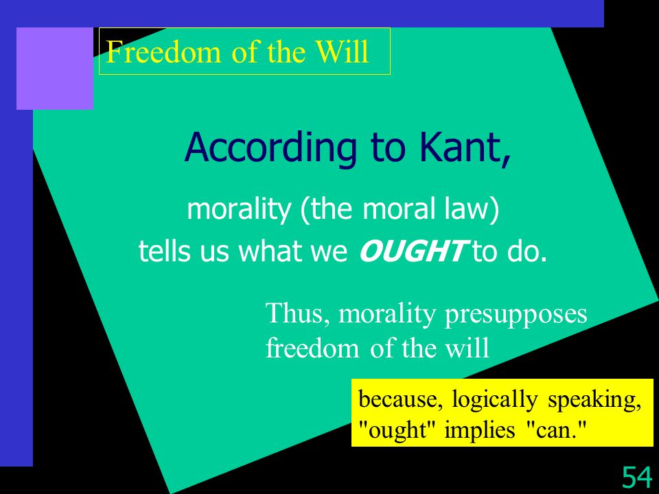 the relations between freedom and morality according to kants moral philosophy Philosophy workshop is the board morality and freedom: introduction to kant's kant's notion of moral law and the connection between morality.