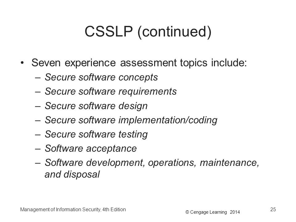 csslp essays As a comprehensive guide to the csslp cbk, it facilitates the required understanding of the eight csslp domains—secure software concepts.