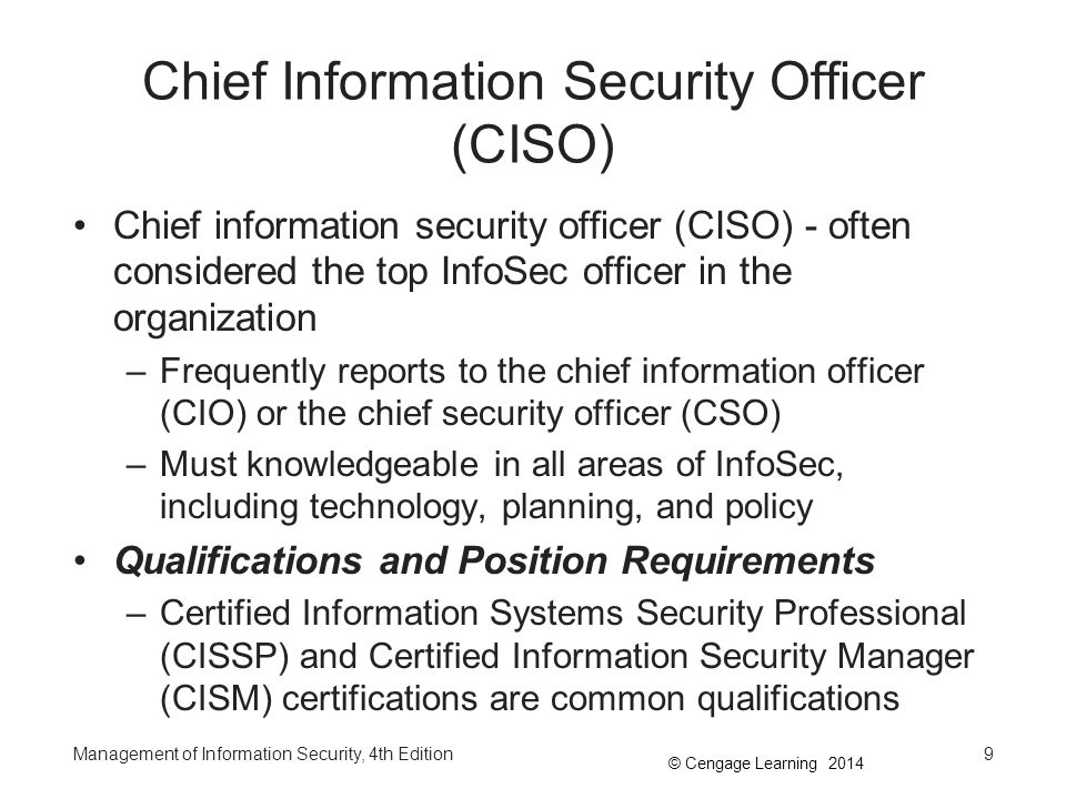 Management of information security 4th edition ppt video online download - Chief information technology officer ...