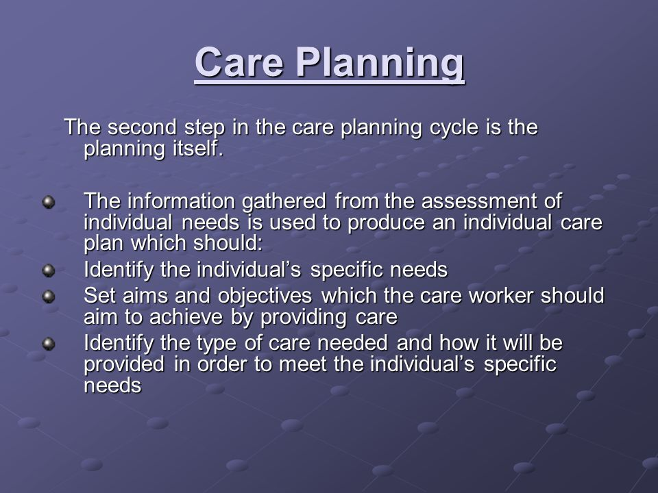 Care Planning The second step in the care planning cycle is the planning itself.