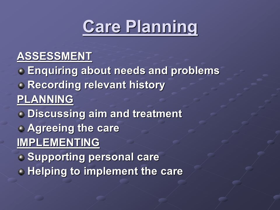 Care Planning ASSESSMENT Enquiring about needs and problems