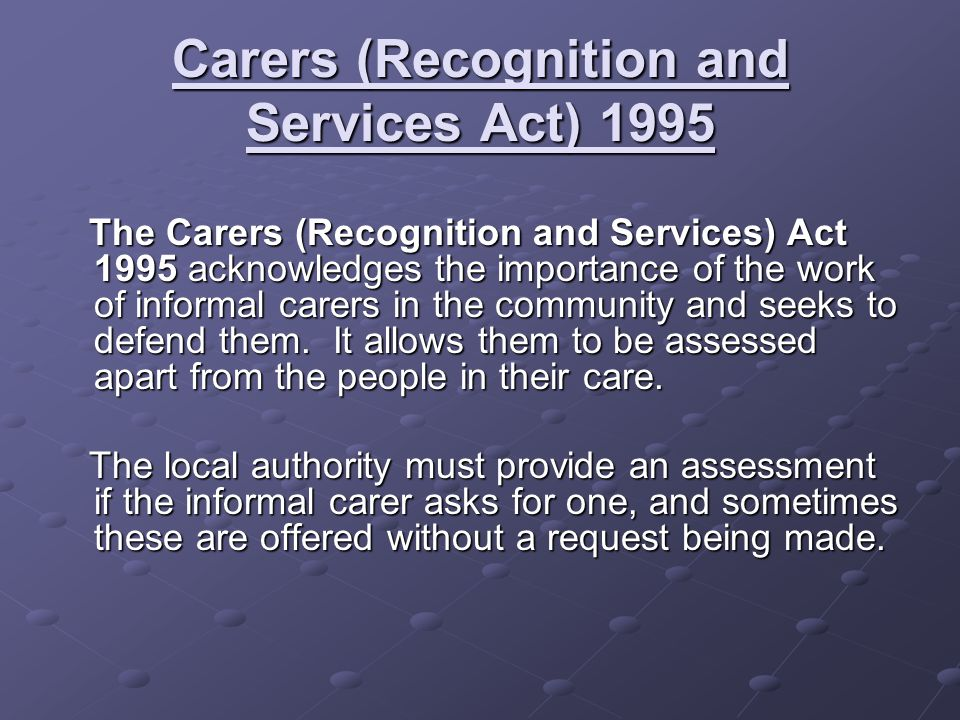 Carers (Recognition and Services Act) 1995