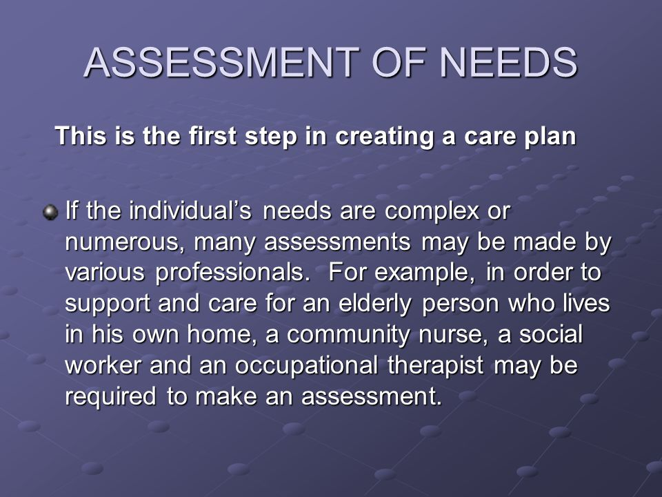 ASSESSMENT OF NEEDS This is the first step in creating a care plan