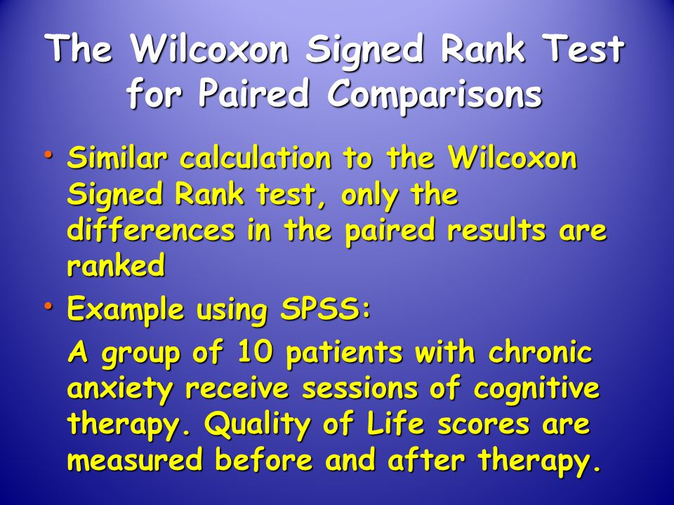 Thesis using wilcoxon