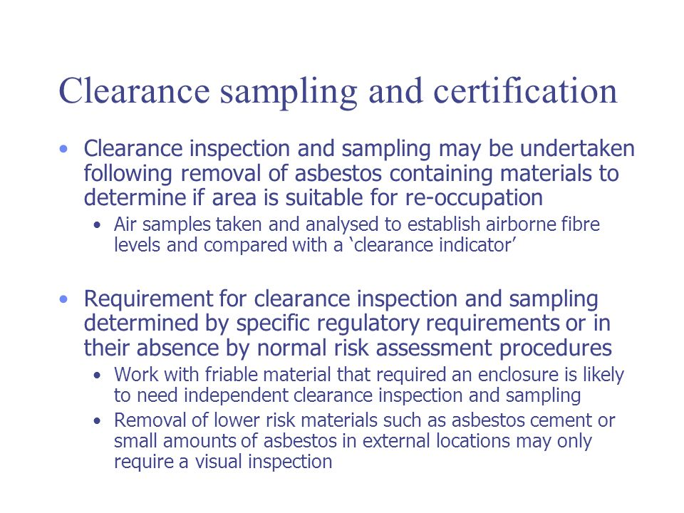W504 air sampling ppt video online download clearance sampling and certification yadclub Image collections
