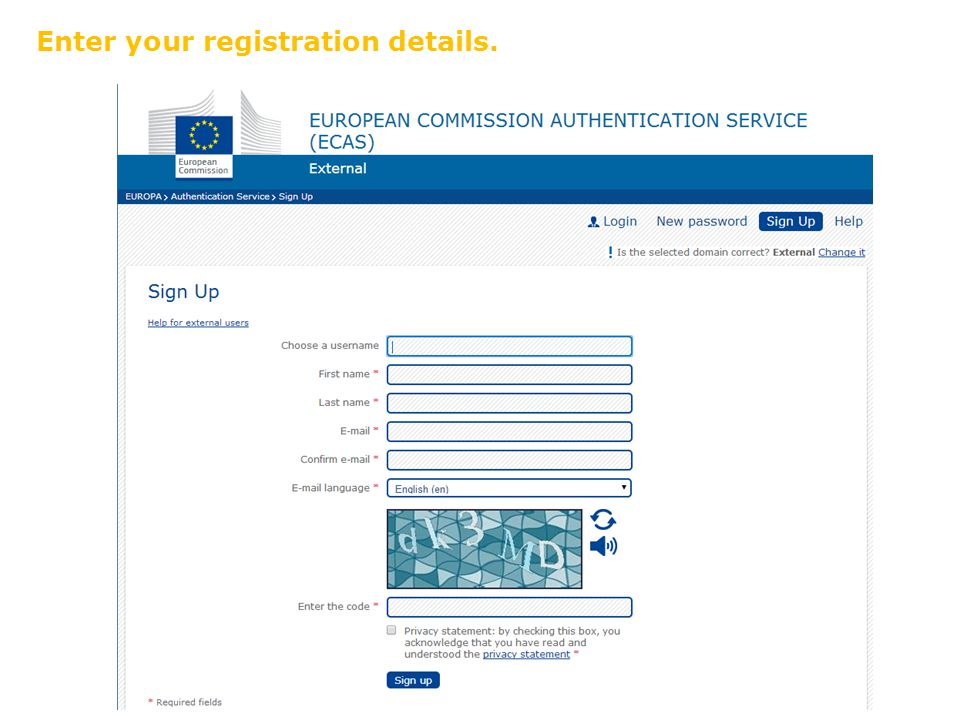 Enter your registration details.