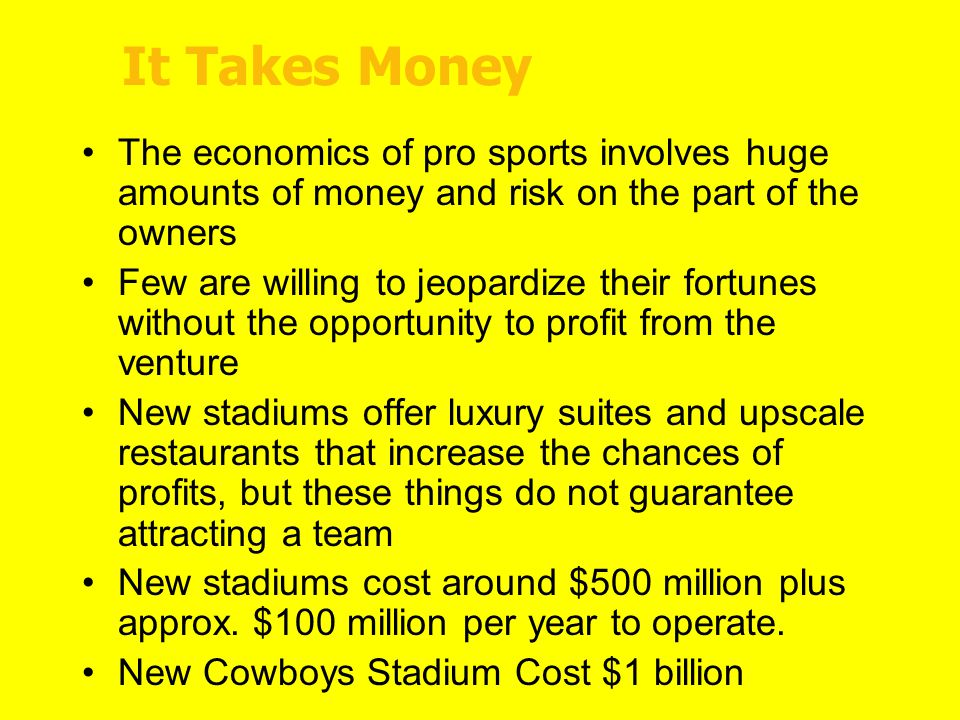 do professional sports benefit the economy As noted, a stadium can spur economic growth if sports is a significant export   whatever the costs and benefits to a city of attracting a professional sports team, .