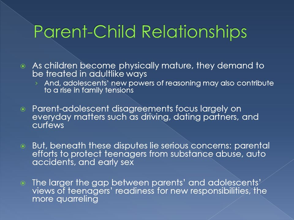 children and parent relationship in modern society The traditional family structure in the united states is considered a sex relationships, single-parent older children were adopted modern.