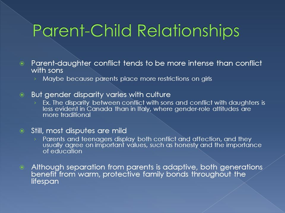 parent child conflict essay Chronic parental conflict: how it can be harmful for children the wish of basically all children is that their parents do not argue or fight with each other and.