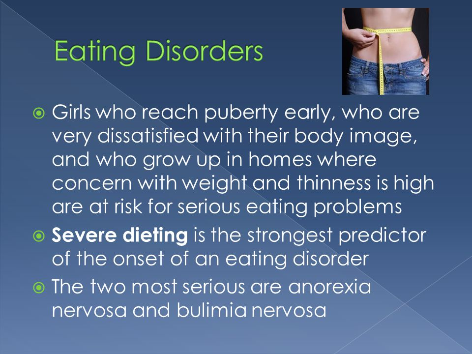anorexia nervosa the eating disorder of adolescent girls They rank as the third most common chronic illness in adolescent females, with an incidence of up to 5% [1, 2, 3] three major subgroups are recognized: a restrictive form in which food intake is severely limited (anorexia nervosa) a bulimic form in which binge-eating episodes are followed by attempts to minimize the.