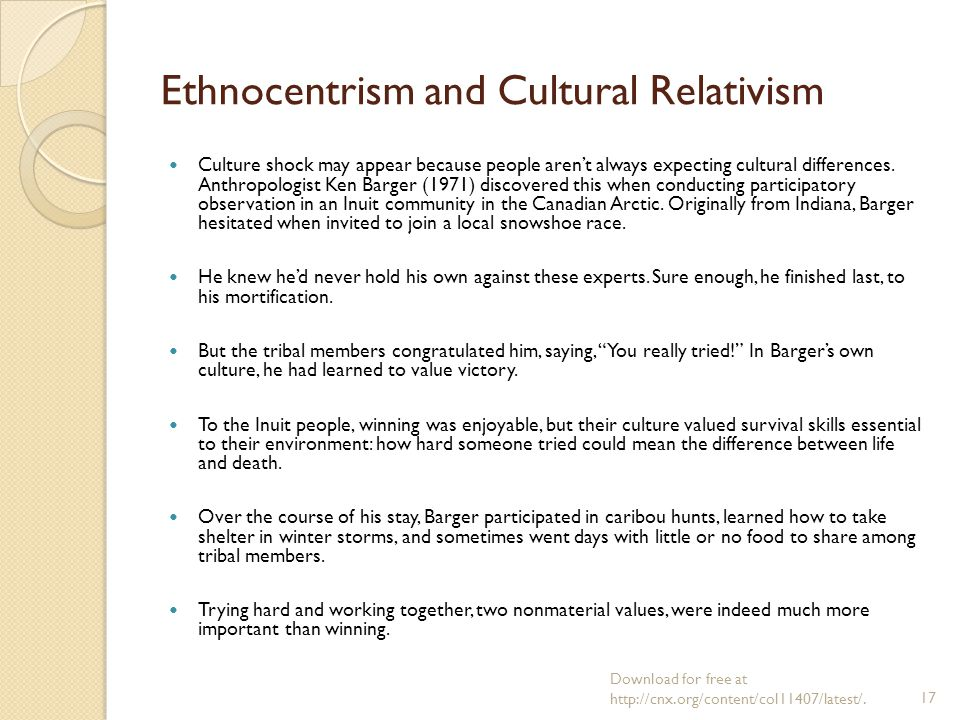 similarities between ethnocentrism and cultural relativism The opposite of ethnocentrism is cultural relativism—the examination of a cultural trait within the context of that culture cultural relativists try to understand unfamiliar values and norms without judging them and without applying the standards of their own culture.