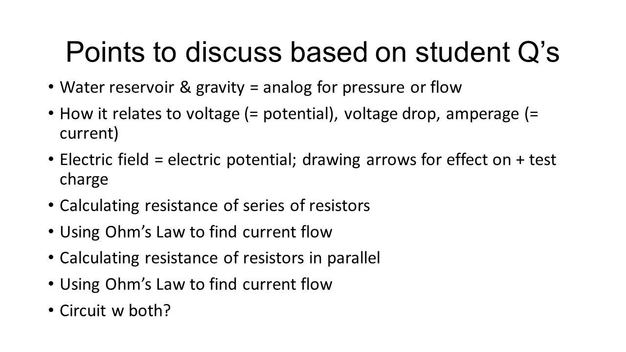 Points to discuss based on student Q's