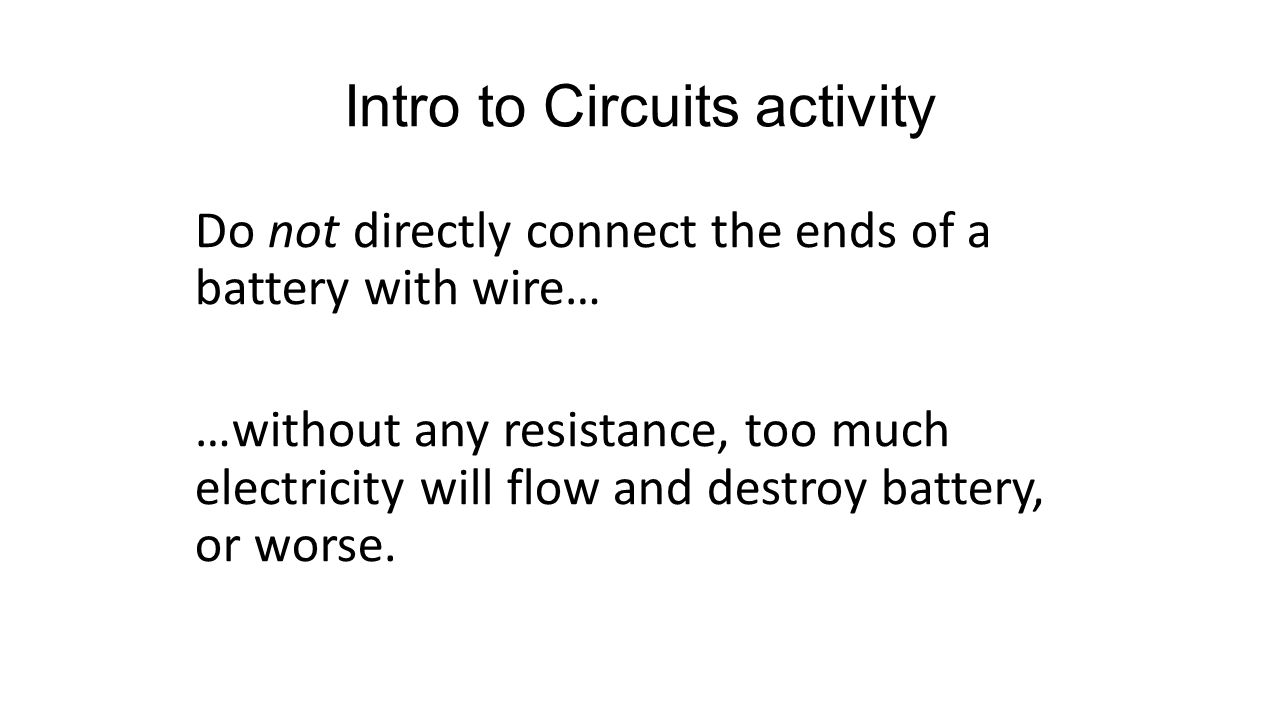 Intro to Circuits activity