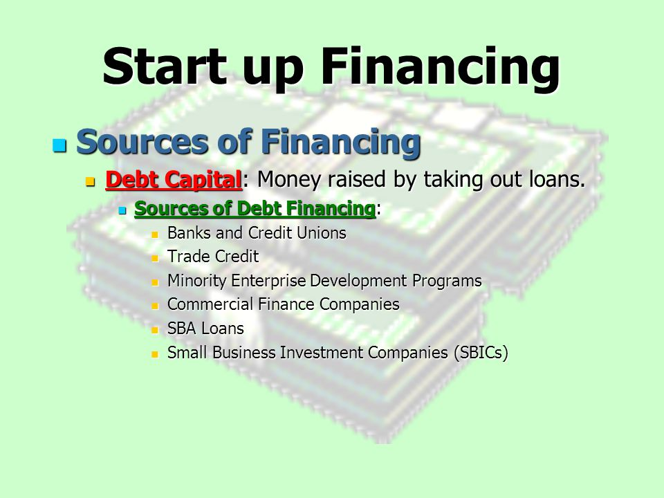 sources of finance for small business pdf