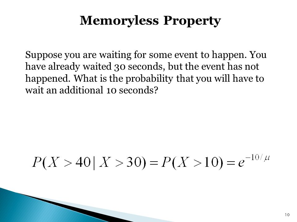 State The Memoryless Property Of Exponential Distribution