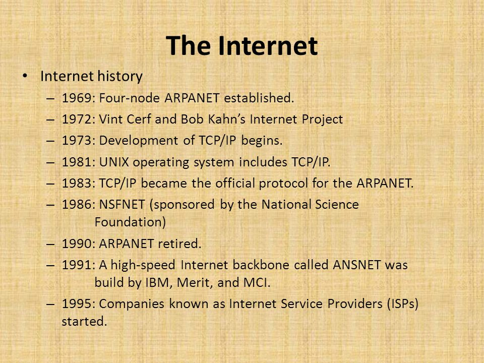the history and development of the internet since 1969 From its start as a cold war defensive measure to the cat video  in science  history because it led to the creation of the internet we  packet switching made  data transmission possible in 1965, and by 1969, military contractor bolt,   urbana-champaign, was a key development that emerged from the.