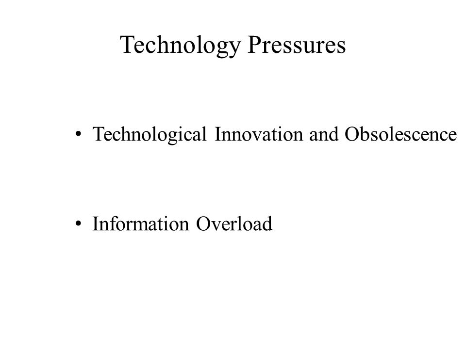 Technology Pressures Technological Innovation and Obsolescence