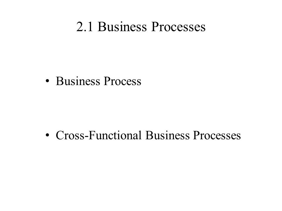 2.1 Business Processes Business Process