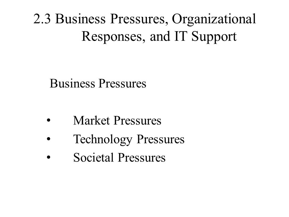 2.3 Business Pressures, Organizational Responses, and IT Support