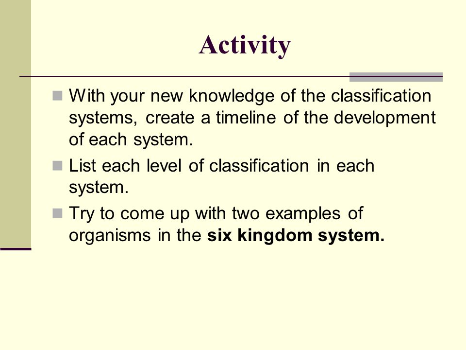 Activity With your new knowledge of the classification systems, create a timeline of the development of each system.