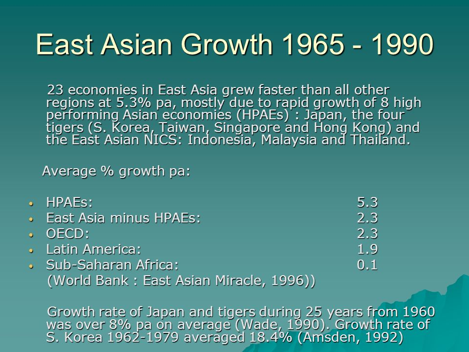 high performing asian economies High performing asian economies robert w fogel nber working paper no 10752 issued in september 2004 nber program(s):economic fluctuations and growth to american and european economists in.