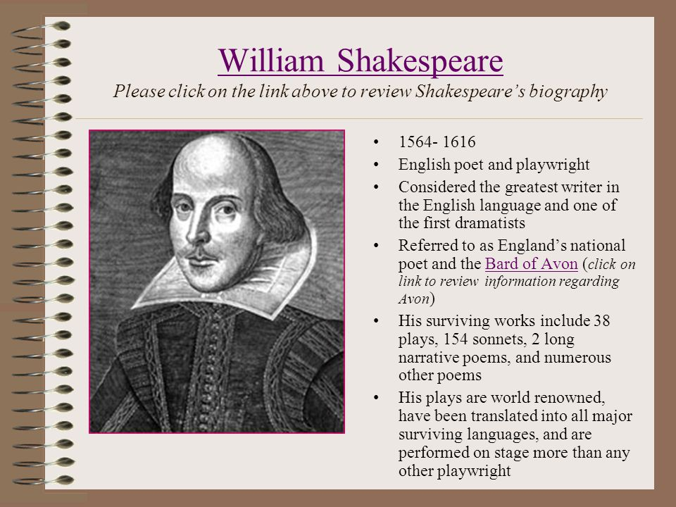 the childhood achievements and literary works of william shakespeare William shakespeare was born in 1564 in stratford-upon-avon, england, a small town of about 1,500 people northwest of london john shakespeare, william's father, made his living primarily as a tanner and a glover but also traded wool and grain from time to time.