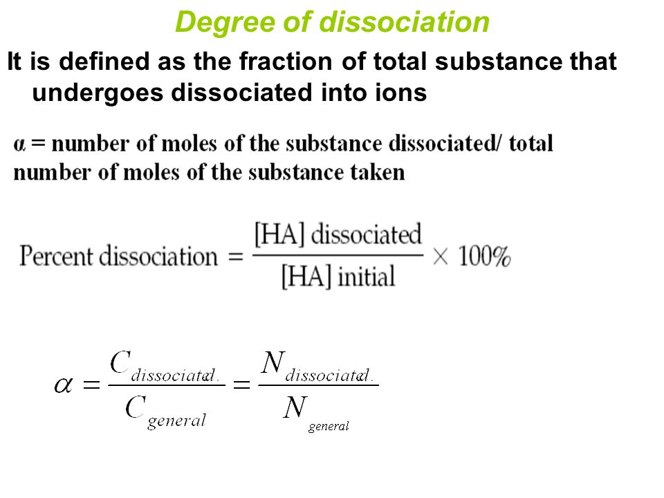 how to solve fraction of dissociation