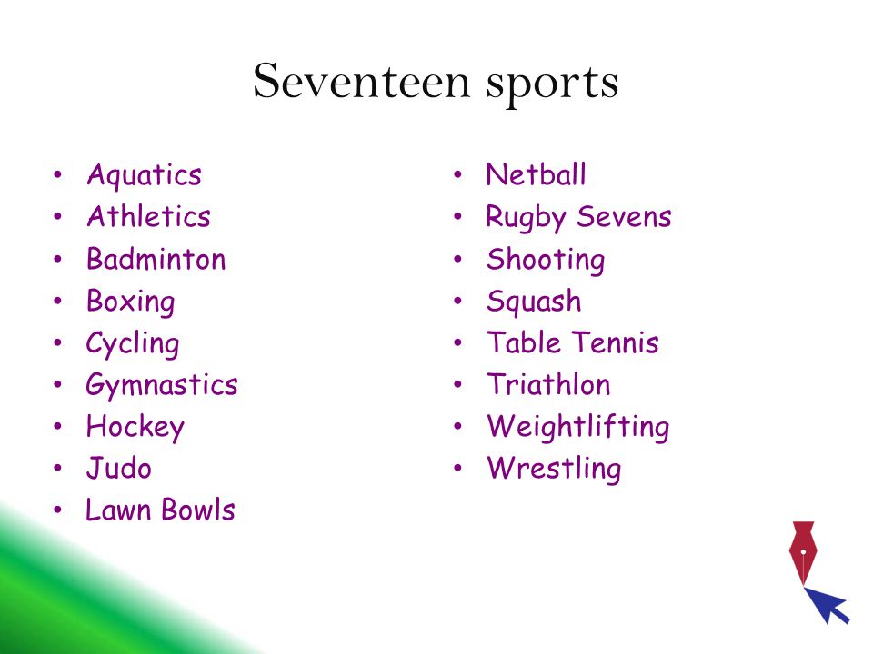 Seventeen sports Aquatics Athletics Badminton Boxing Cycling