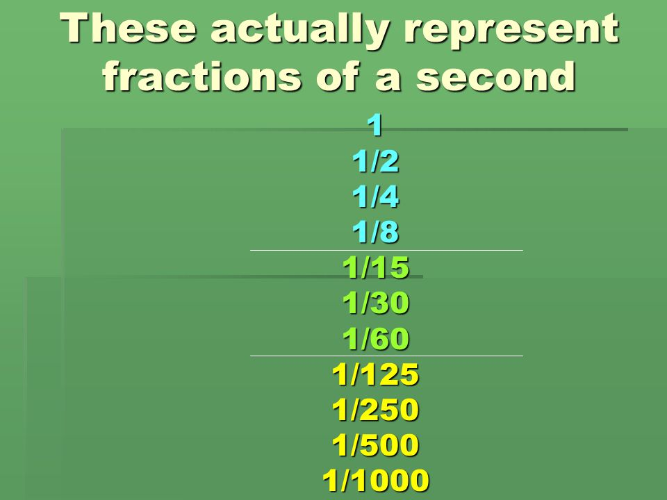 These actually represent fractions of a second