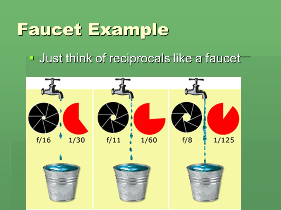 Faucet Example Just think of reciprocals like a faucet