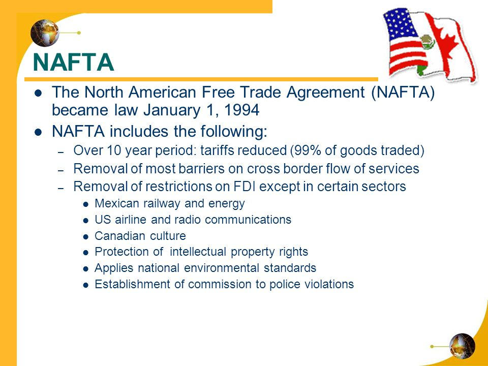 the genesis and impact of the north american free trade agreement nafta Consumer bulletin commonly known as gatt, and the north american free trade agreement the supplemental agreements create north american commissions on the environment and on labor to strengthen domestic enforcement of laws in these two areas.