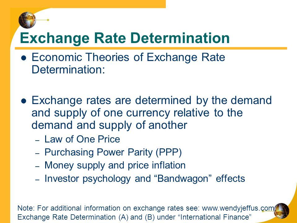 theories of exchange rate determination essay Costas arkolakis teaching fellow: federico esposito a theory of determination of the real exchange rate a theory of determination of the real exchange rate.