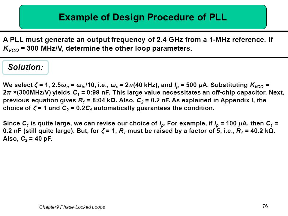 Chapter 9 Phase Locked Loops Ppt Download Design Procedure Pll