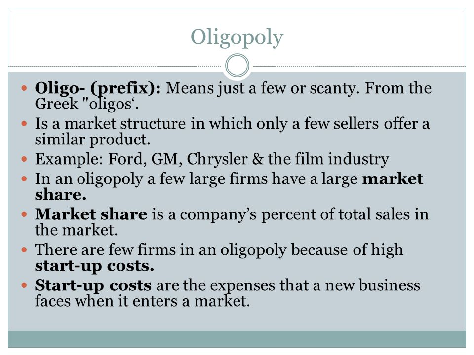 is ford oligopoly Oligopoly is a market structure in which a small number of firms has the large majority of market share an oligopoly is similar to a monopoly, except that rather than one firm, two or more firms dominate the market.