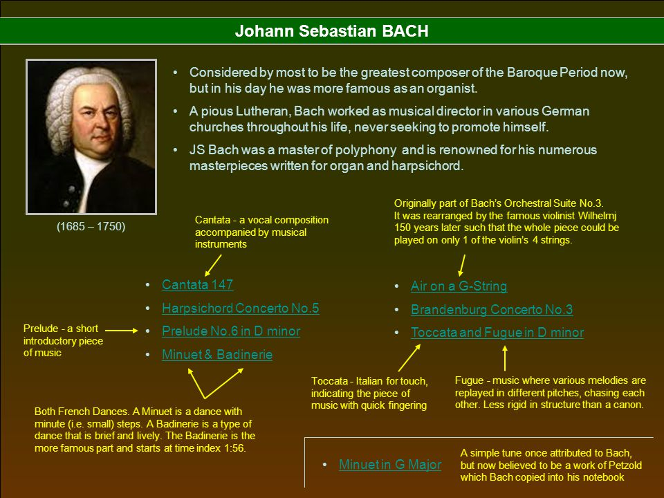 Johann Sebastian BACH Considered by most to be the greatest composer of the Baroque Period now, but in his day he was more famous as an organist.