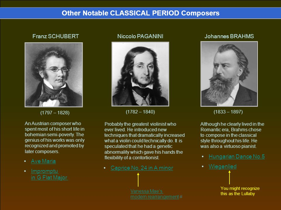 Other Notable CLASSICAL PERIOD Composers