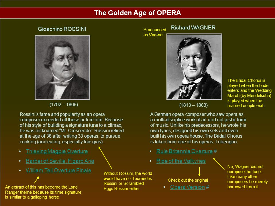 The Golden Age of OPERA Gioachino ROSSINI Richard WAGNER
