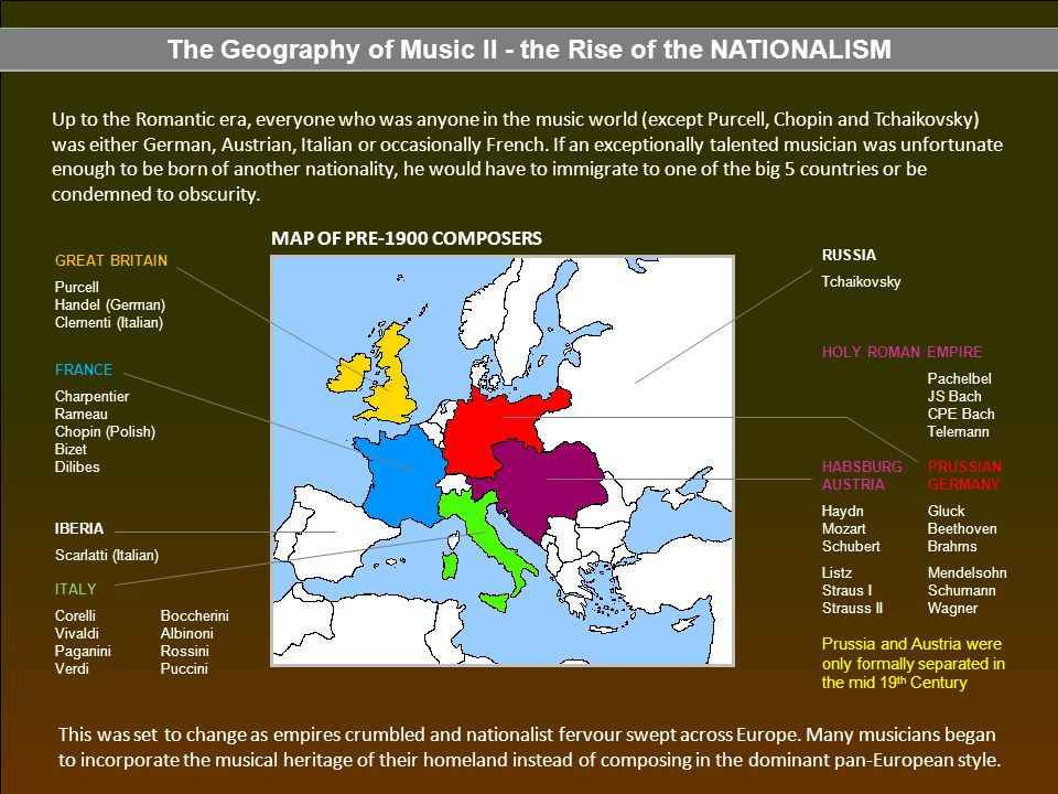 The Geography of Music II - the Rise of the NATIONALISM