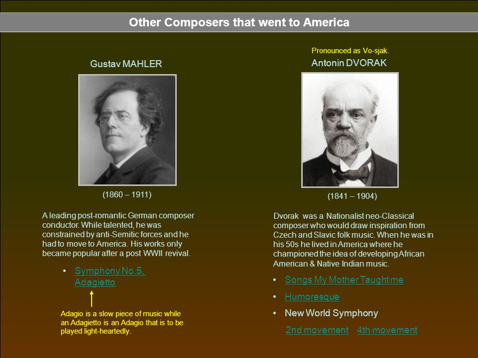 Other Composers that went to America