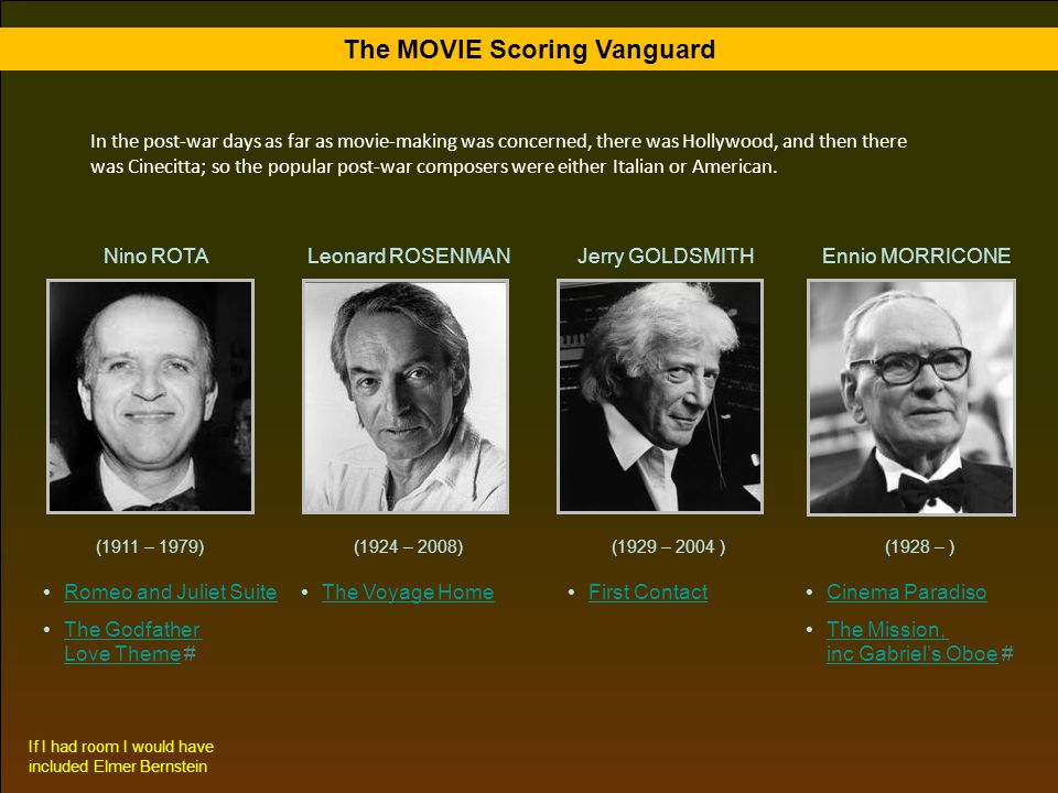 The MOVIE Scoring Vanguard