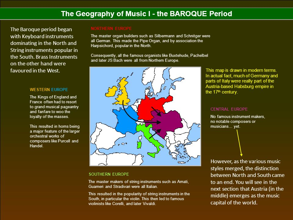 The Geography of Music I - the BAROQUE Period